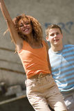 Joy. Full young caucasian active couple Stock Image