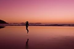 Joy!. A happy traveler jumping with joy Royalty Free Stock Photo