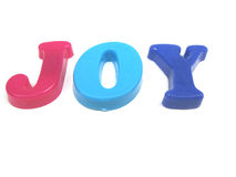 Joy. The word joy spelled out Royalty Free Stock Images