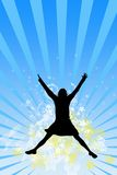 The Joy. The Silhouette of the girl in jump.The Sensation to Big joy Royalty Free Stock Photos