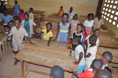 JOY OF AFRICAN CHILD IN THE CLASSROOM Stock Photo