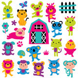 Joy animals clip art set Royalty Free Stock Image