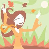 Joy of Autumn. Girl enjoying the cool, crisp Autumn air - wind blowing leaves all around Vector Illustration