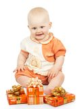 Joy baby with gift boxes Royalty Free Stock Image