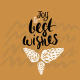 Joy and best wishes - Holiday unique handwritten lettering made with ink. Christmas greeting card. Stock Images