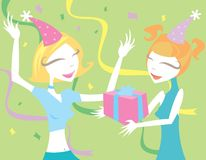 Joy of Birthdays. Girls enjoying a birthday party Stock Illustration