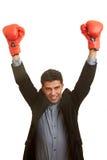 Joy with boxing gloves stock image