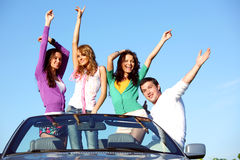 Joy in cabriolet Stock Images