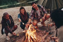 Joy of camping. Group of young people in casual wear roasting marshmallows over a campfire while resting near the lake stock image