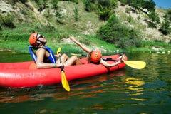 Joy canoe river Stock Photo
