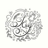 Joy Card. Winter Holiday Typography. Handdrawn Lettering. Poster With Line Art Christmas Elements. Stock Photography