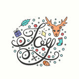 Joy Card. Winter Holiday Typography. Handdrawn Lettering. Royalty Free Stock Image