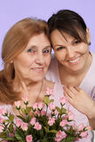 Joy Caucasian elderly woman and her daughter Stock Photography