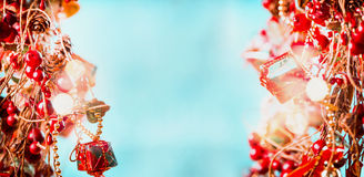 Joy Christmas background in red blue with shine and sparkling bokeh, frame. Banner royalty free stock photo
