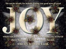 Joy Christmas Holly Angel Card Royaltyfria Bilder