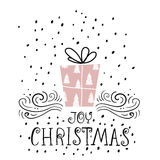 Joy Christmas trendy design greeting card. Holiday winter template with handwritten lettering . X mass  background with gift Stock Photo