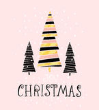 Joy Christmas- winter holiday saying. Hand drawn greeting card with handwritten lettering and Christmas tree. Vector Illustration. Royalty Free Stock Photo