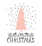 Joy Christmas- winter holiday saying. Hand drawn greeting card with handwritten lettering and Christmas tree on white background. Stock Photo