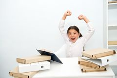 Joy concept. Schoolgirl feel joy and energy of homework done. Happy child smile with joy. Educate your girl and boy to. Fill the future with lots of joy stock photography