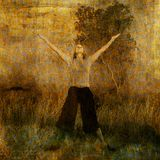 Joy and Faith. Woman in nature with arms and heart lifted to the sky. Photo based illustration Stock Photography