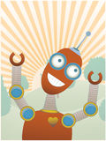 Joy filled robot a top hilly sunny tree fill scene Stock Photo