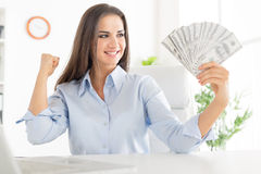 The Joy Of The First Salary Royalty Free Stock Image