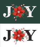 Joy Flower Christmas Illustration Stock Photos