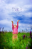 Joy and freedom girl. Little girl in meadow free joy and happiness Royalty Free Stock Photos