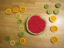 Joy of Fruit. Creative Flat lay of fruit spelling joy Royalty Free Stock Image