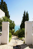 Joy Gateway of Relax. A small path in a Tunisian City Sidibusaid Stock Photo