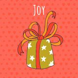 Joy and gift drawing greeting card Royalty Free Stock Images