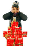 The joy at the gifts Stock Images