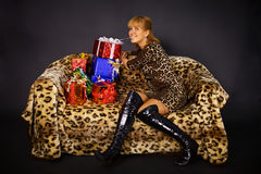 Joy of gifts for birthday Royalty Free Stock Photo