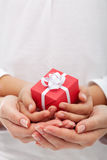 The joy of giving - small gift box in woman and child hands Royalty Free Stock Photography