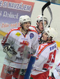 Joy of goal - Ice hockey match. Zdar vs. Pelhrimov, Czech league December 27, 2009 Zdar N.S, Czech Rep. Final score for Zdar 6:2 Stock Photography