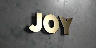 Joy - Gold sign mounted on glossy marble wall  - 3D rendered royalty free stock illustration. This image can be used for an online website banner ad or a print Royalty Free Stock Photo