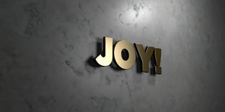 Joy! - Gold sign mounted on glossy marble wall  - 3D rendered royalty free stock illustration. This image can be used for an online website banner ad or a Stock Photography