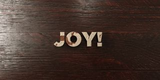 Joy! - grungy wooden headline on Maple  - 3D rendered royalty free stock image Royalty Free Stock Photography