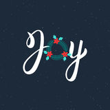 Joy hand drawn modern brush lettering inscription. Lettering Noel text with Christmas wreath. Holiday design, art print for poster Royalty Free Stock Images
