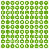100 joy icons hexagon green. 100 joy icons set in green hexagon isolated vector illustration Royalty Free Stock Photos