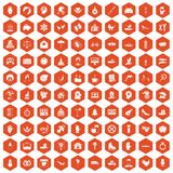 100 joy icons hexagon orange. 100 joy icons set in orange hexagon isolated vector illustration Royalty Free Illustration