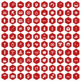 100 joy icons hexagon red. 100 joy icons set in red hexagon isolated vector illustration Stock Photography