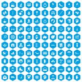 100 joy icons set blue. 100 joy icons set in blue hexagon isolated vector illustration Vector Illustration