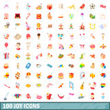 100 joy icons set, cartoon style Stock Photography