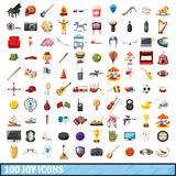100 joy icons set, cartoon style. 100 joy icons set in cartoon style for any design vector illustration royalty free illustration