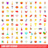 100 joy icons set, cartoon style. 100 joy icons set in cartoon style for any design vector illustration Royalty Free Stock Images