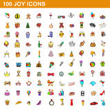 100 joy icons set, cartoon style. 100 joy icons set in cartoon style for any design vector illustration Stock Image