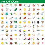100 joy icons set, cartoon style. 100 joy icons set in cartoon style for any design illustration stock illustration