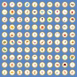 100 joy icons set cartoon vector. 100 joy icons circle set on blue background cartoon style vector illustration Royalty Free Stock Photo