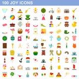 100 joy icons set, flat style. 100 joy icons set in flat style for any design illustration vector illustration